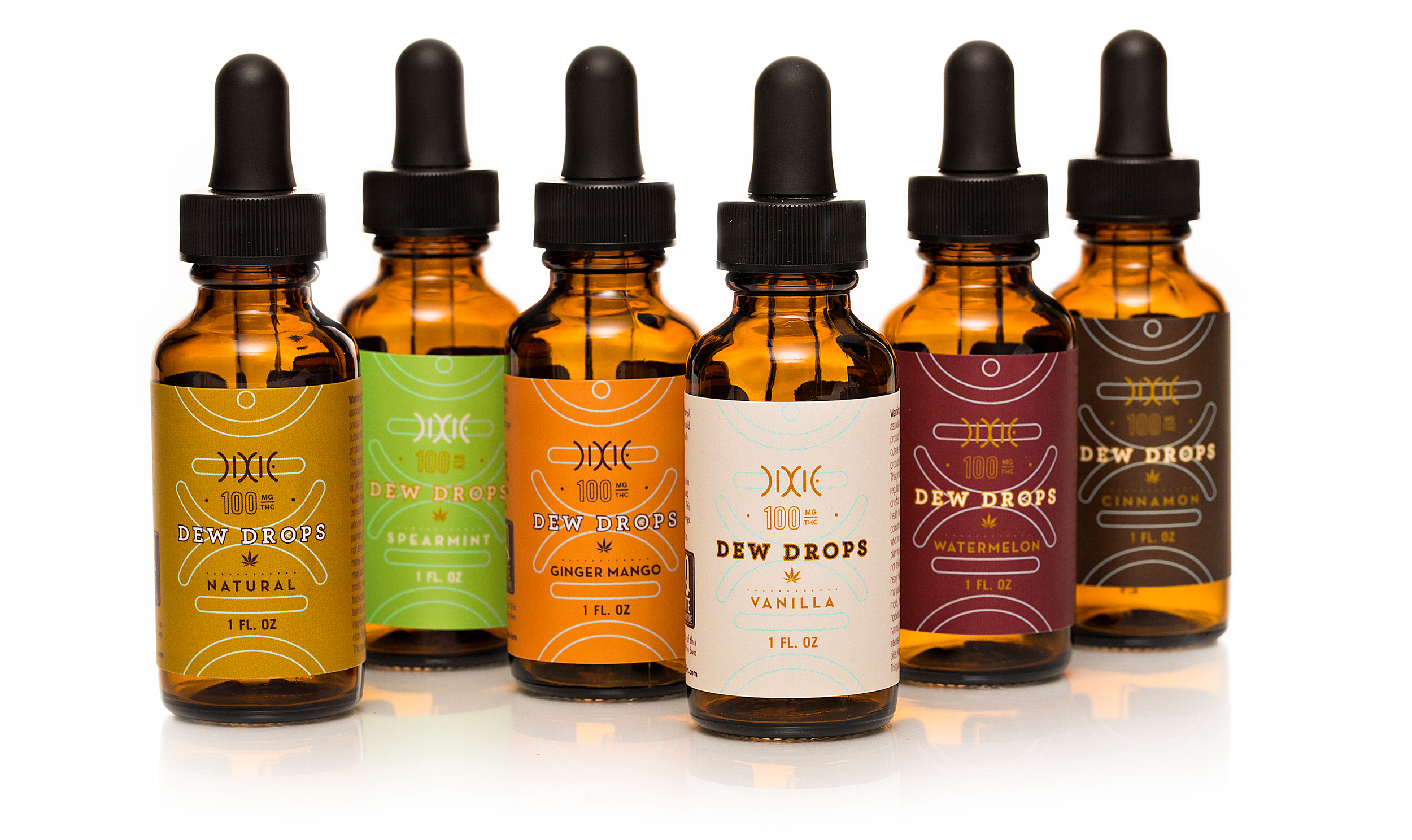 Modern package design for Dixie's cannabis-infused tinctures.