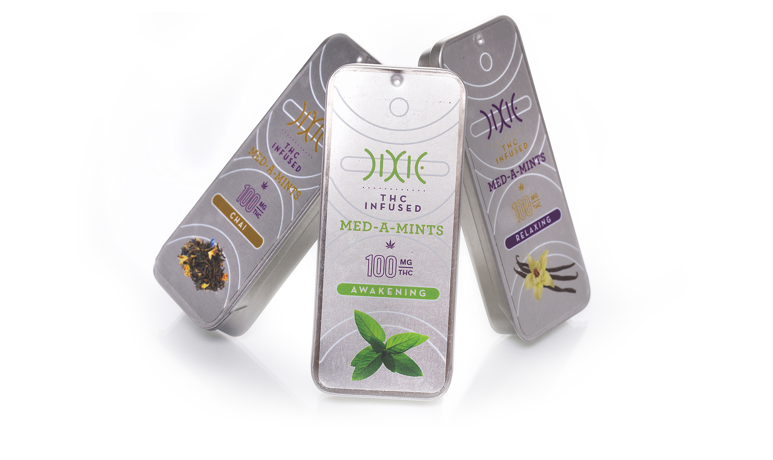 Modern package design for Dixie's cannabis-infused mints.