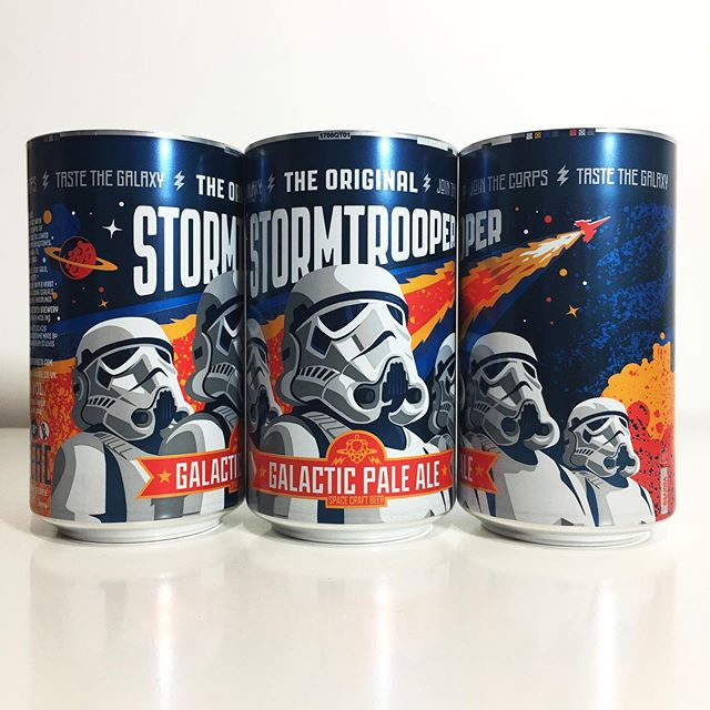 My designs for Galactic Pale Ale were released today featuring licensed Original #Stormtroopers. 8 color print on aluminum. #beer #stormtrooper #ale #vector #graphicdesign #illustration #packaging