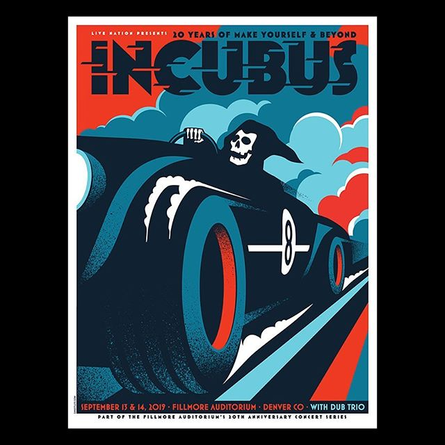 New poster for #incubus this weekend in #denver available on my site. #illustration #graphicdesign #grimreaper #screenprinting #gigposter
