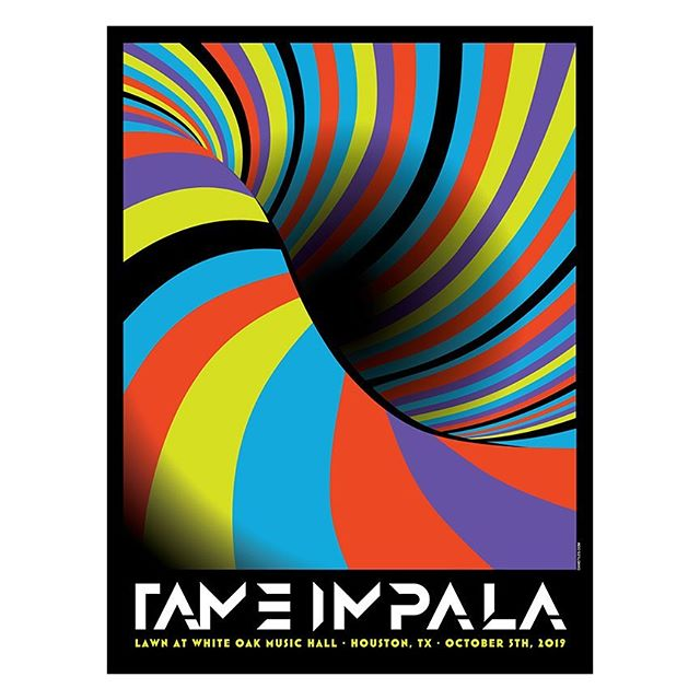 New poster for #tameimpala last night in #houston is up in my web store. This one is a little different for me as Kevin specifically requested no people, animals or anything of the sort, just pure form. Also available as a foil variant. #screenprint #poster #gigposter #illustration #graphicdesign