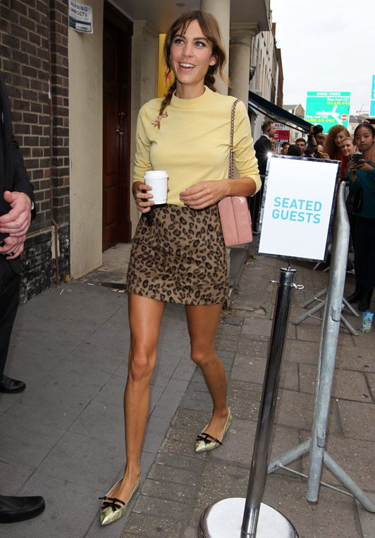 'The Pin' - Leopard Print A-line and Canary Yellow Skivvy as seen on Alexa Chung.