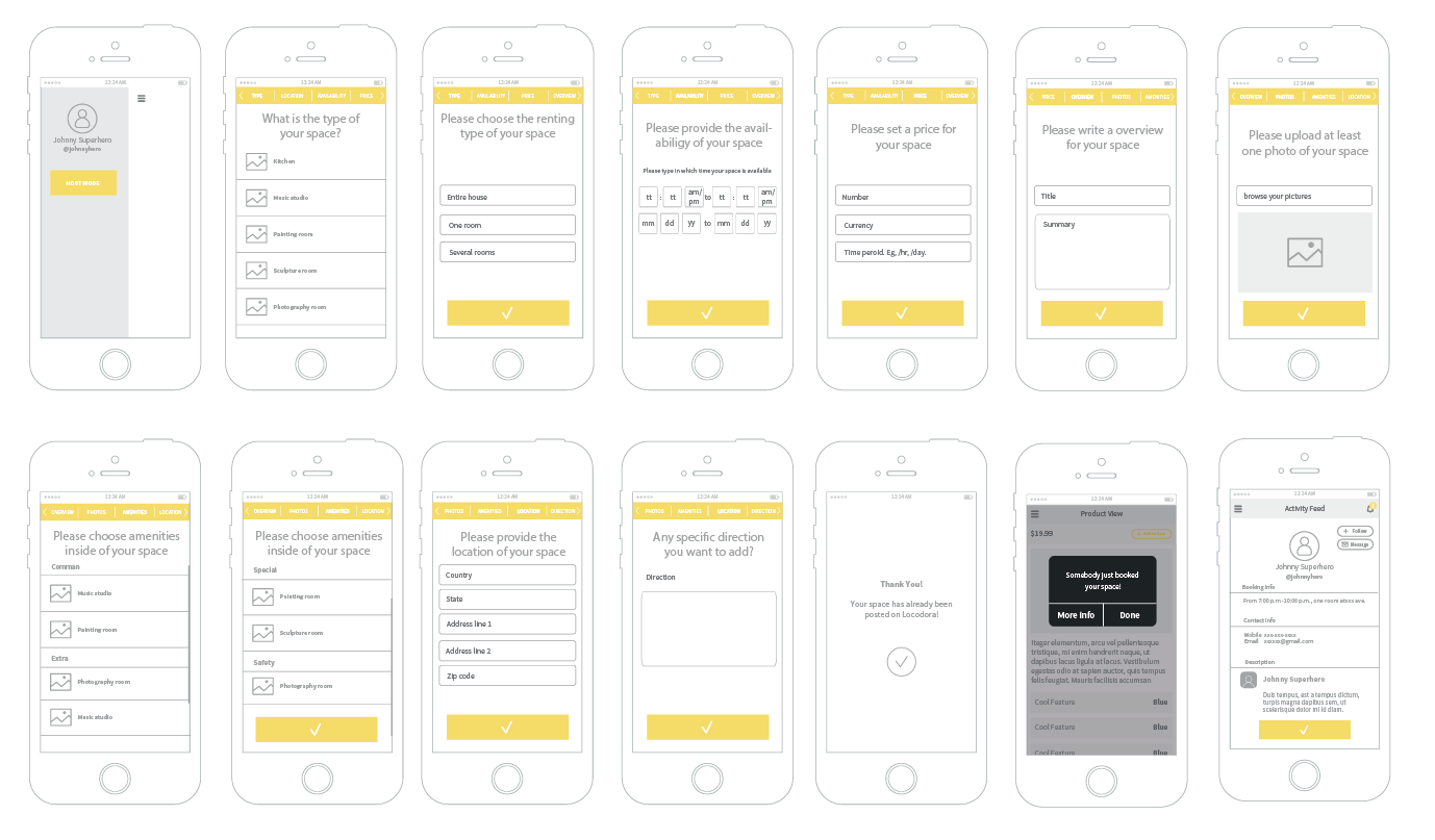 Wireframe from Provider Side