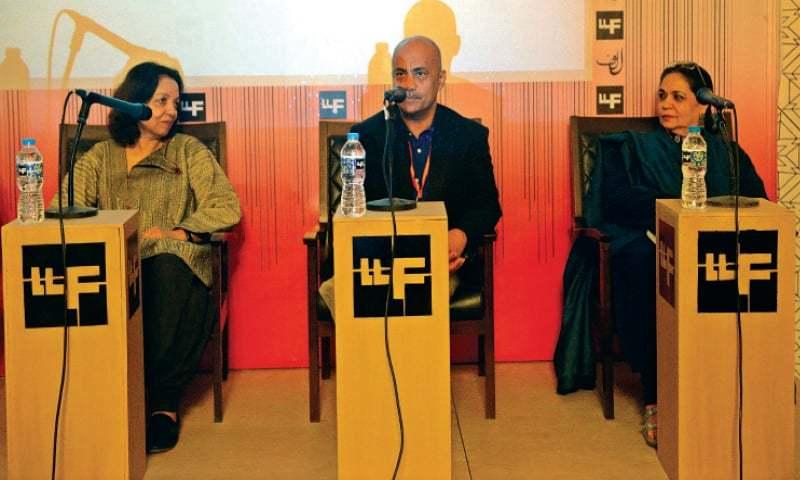 Nighat Mir, Quddus Mirza and Noorjehan Bilgrami at a session on Imran Mir. — White Star