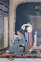 """Osman Hamdi Bey, """"Saçlarını Taratan Kız"""", tuval üzerine yağlıboya, 58x39 cm, Dolmabahçe Sarayı koleksiyonu."""