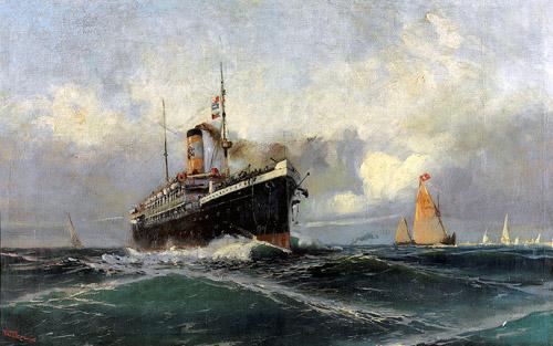 """""""Yolcu Gemisi"""", 1903, 65x100 cm, tuval üzerine yağlıboya, Fotoğraf: © Antik A.Ş. arşivi."""