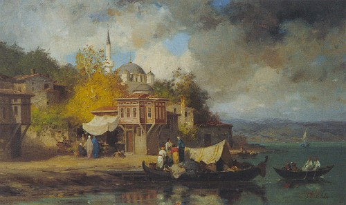 """Resim 8) Fabius Brest, """"Boğaz Manzarası"""", tuval üzerine yağlıboya, 30x49 cm, Antik A.Ş. arşivi."""