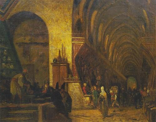 """Resim 11) Fabius Brest, """"Mısır Çarşısı, İstanbul'da Baharat ve İlaç Pazarı"""", tuval üzerine yağlıboya, 58x 81.5 cm, özel koleksiyon, İstanbul."""