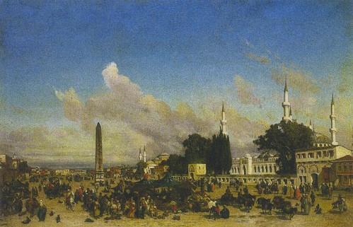 """Resim 12) Fabius Brest, """"İstanbul'da At Meydanı"""", 1861, tuval üzerine yağlıboya, 130,5x195,5 cm, (c) Musée des Beaux-Arts, Béziers."""