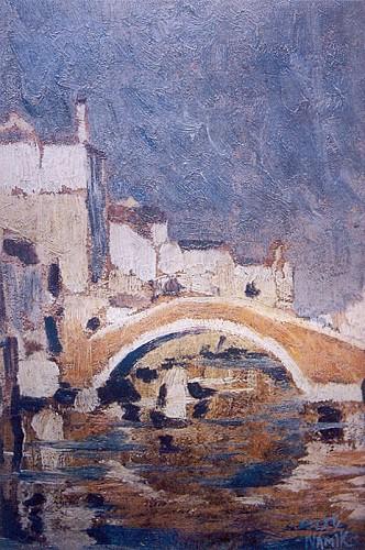 Venedik'te Köprü, 1921, 16.5x26 cm, duralit üzerine yağlıboya (Özel Koleksiyon) (Rona. s 64)