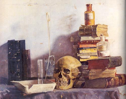 """Avni Lifij, """"Kurukafalı, Kitaplı Ölüdoğa"""" (1323/1905 imzalı) 44.5 x 53.5 cm tuval üzerine yağlıboya B. Aksoy Koleksiyonu"""