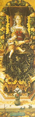 "Carlo Crivelli      (1433-1495) ""Mumlu Madonna"" 1490 Ahşap üzerine yağlıboya, 218 x 75 cm (Milan Pinacoteca Brera)"