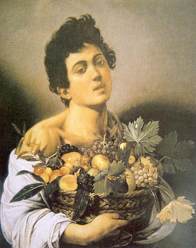 """Michelangelo Merisi Da Caravaggio (1571-1610) """"Meyve Sepetli Delikanlı"""" 1593 Tuval üzerine yağlıboya 70 c 69 cm. (Roma Galleria Borghese)"""