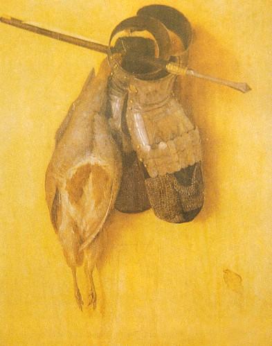 """Jacopo de Barbari (1445/50-1516) """"Keklik ve Demir Zırh Eldivenli Ölüdoğa"""" 1504 Ahşap pano üzerine yağlıboya 51.6 x 42.4 cm. (Münih Alte Pinakothek)"""