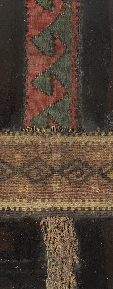 """Bedri Rahmi Eyüboğlu, 1966, """"Kilimli Soyut"""" (detay), duralit üzerinekarışık teknik, 184x124 cm, imzalı, Mehmet Hamdi EyüboğluKoleksiyonu."""