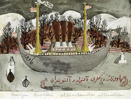 """Bedri Rahmi Eyüboğlu, """"Yavuz Geliyor Yavuz"""", kâğıt üzerine guaj, 10x14 cm, Mehmet Hamdi Eyüboğlu Koleksiyonu"""