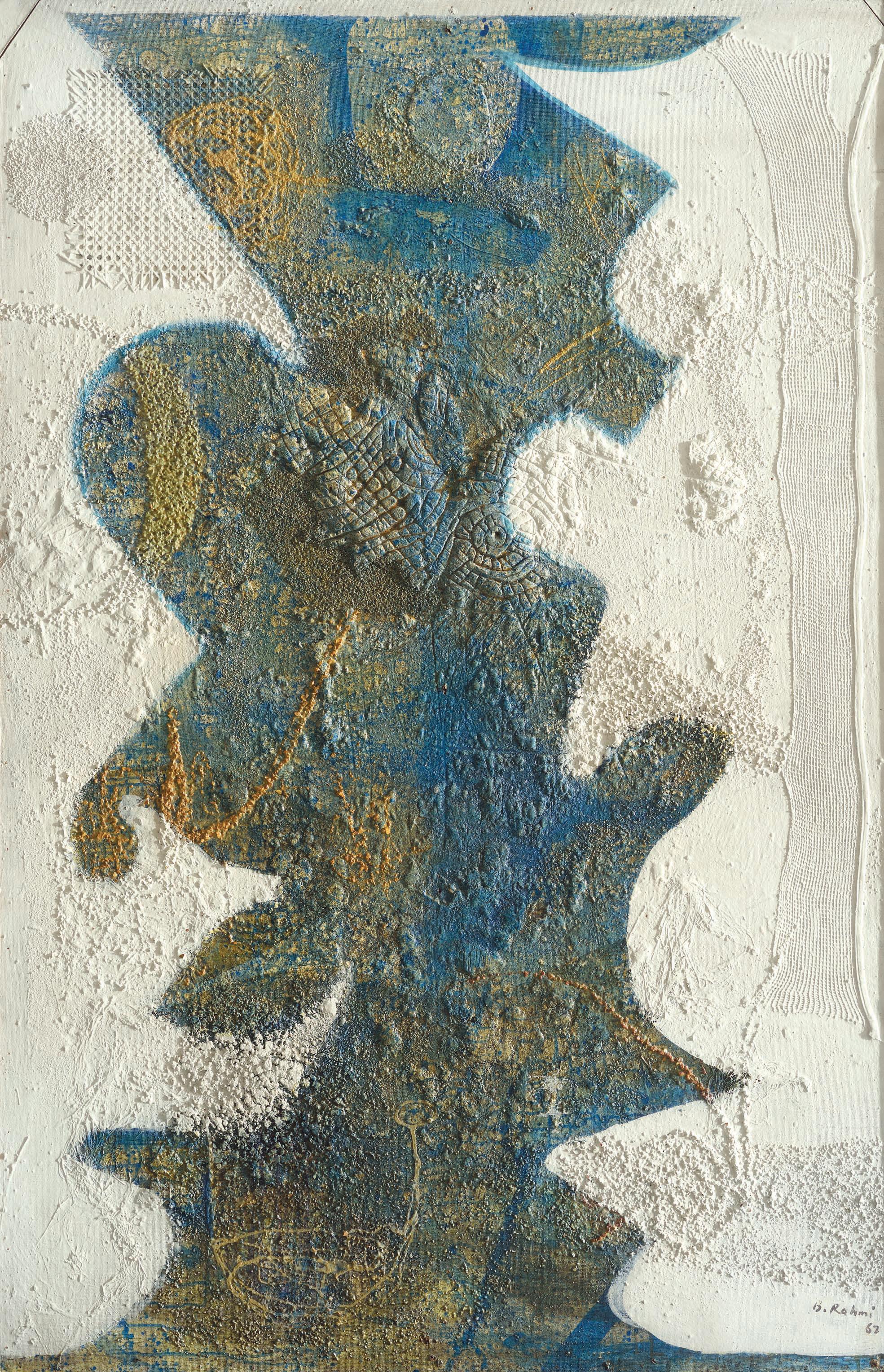 """Bedri Rahmi Eyüboğlu, 1967, """"Soyut-Boğaz"""", duralit üzerine akrilik, 183x122 cm, Mehmet Hamdi Eyüboğlu Koleksiyonu."""