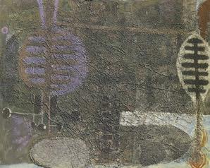 """Bedri Rahmi Eyüboğlu, """"Mor için Yeşil"""", kontrplak üzerine yağlıboya, 119x96 cm, MSGSÜ İstanbul Resim Heykel Müzesi Koleksiyonu."""