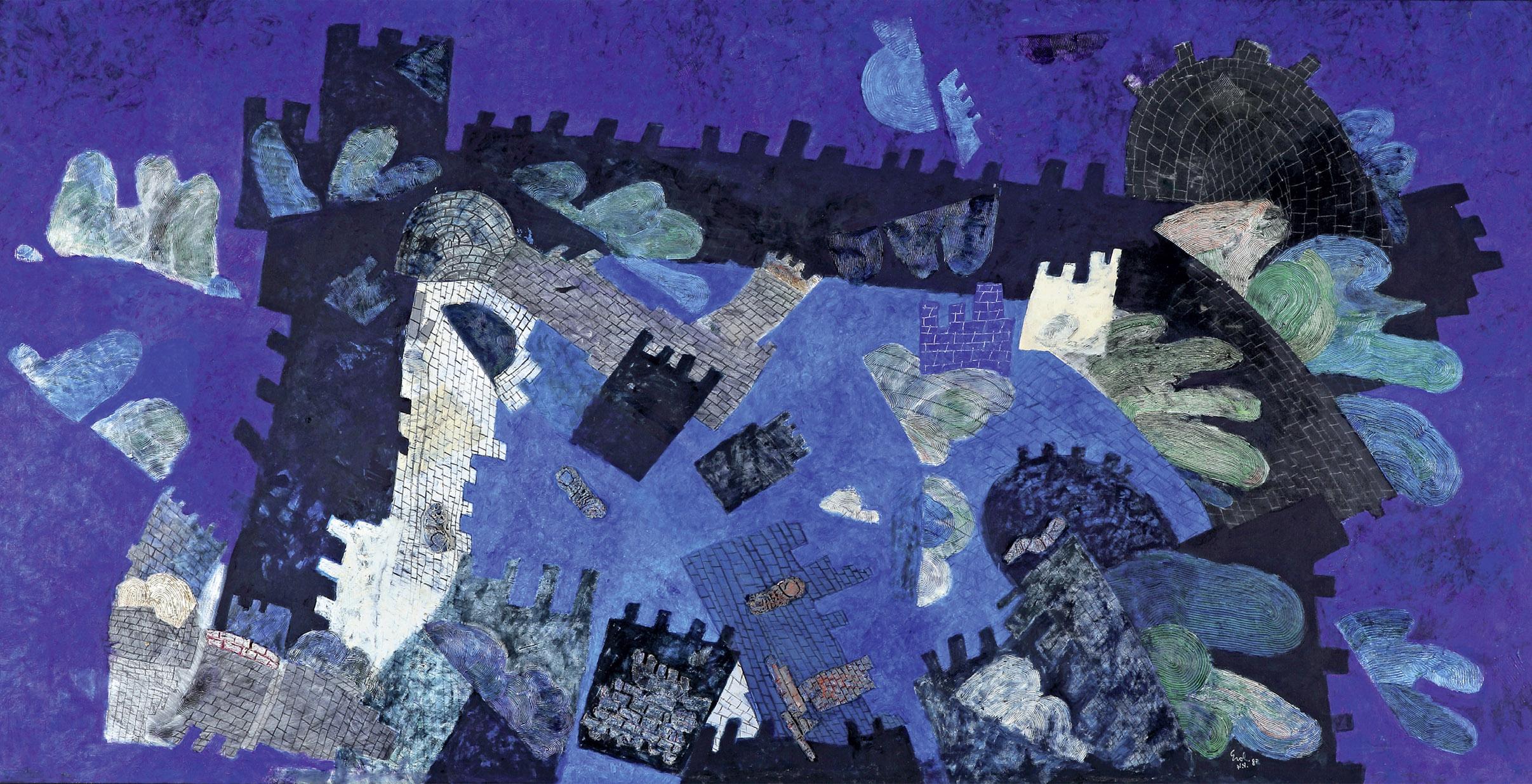 """Resim 36- Erol Akyavaş, """"Fallen City (Düşük Şehir)"""", 1982, tuval üzerine karışık teknik, 137x264 cm., (Pınar Erta. Koleksiyonu)."""
