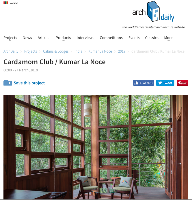 Cardamom Club on Archdaily, March 2018