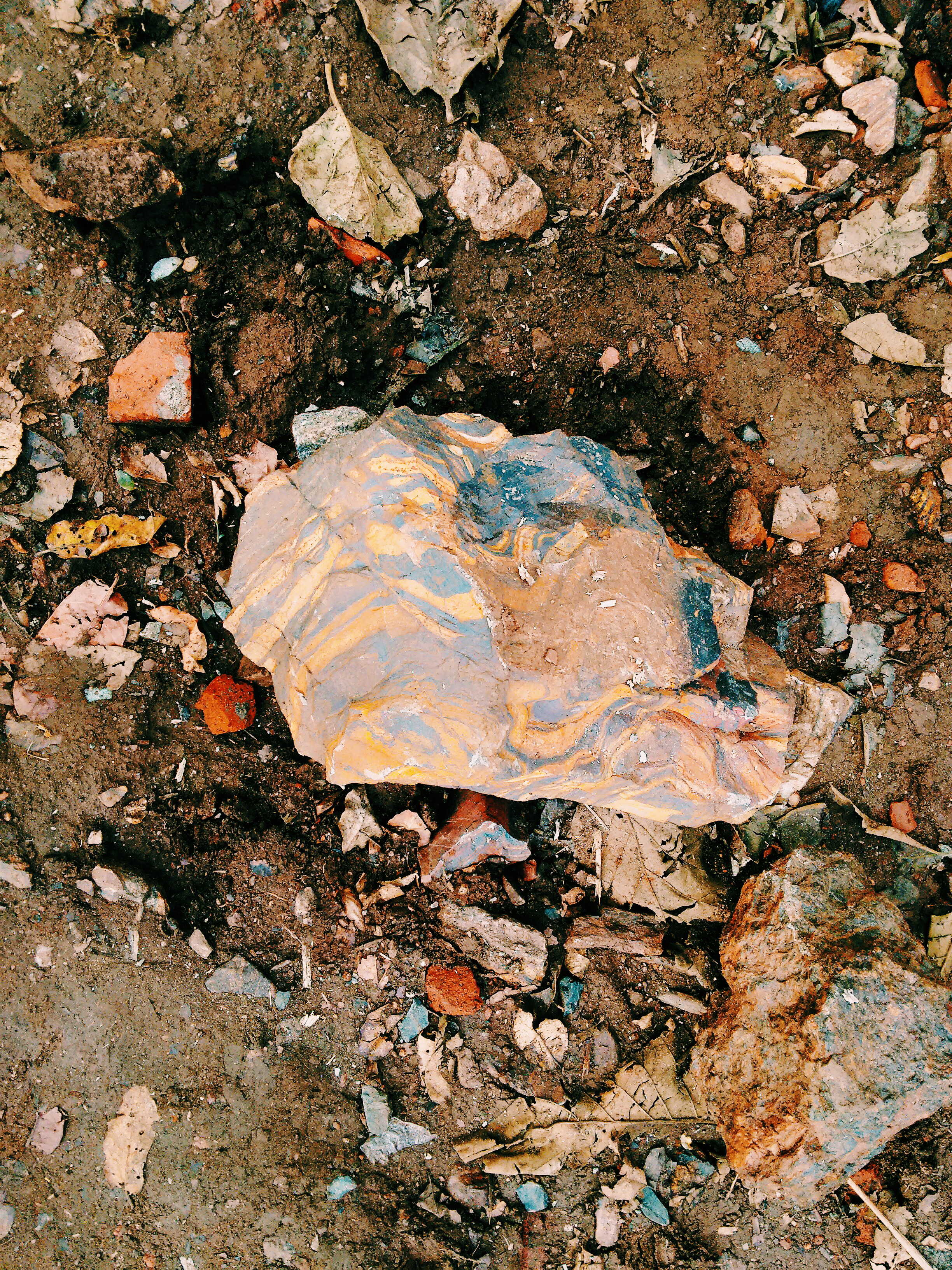 Unique 'rainbow' rock at KSV site, Dharwad, India
