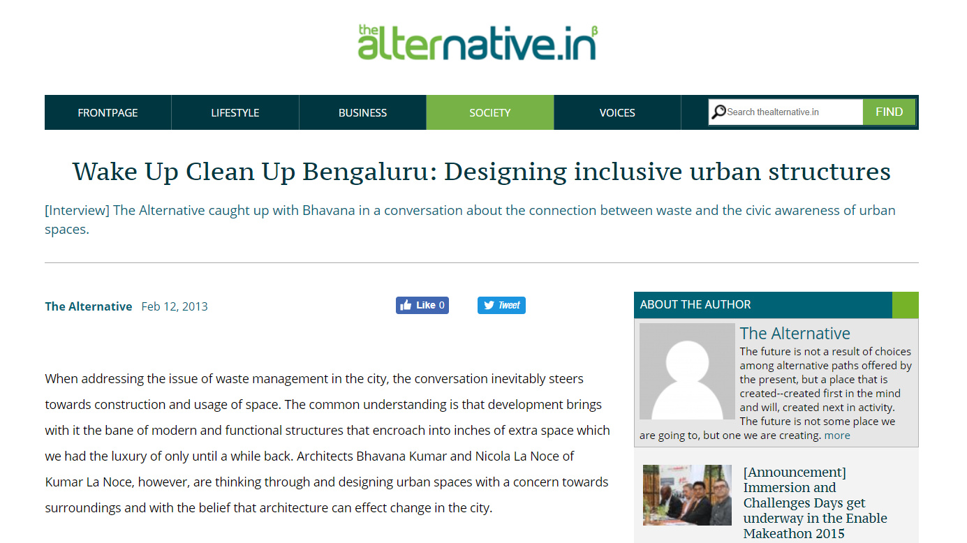 The Alternative interviews KLN on the idea of waste, civic awareness and urban spaces