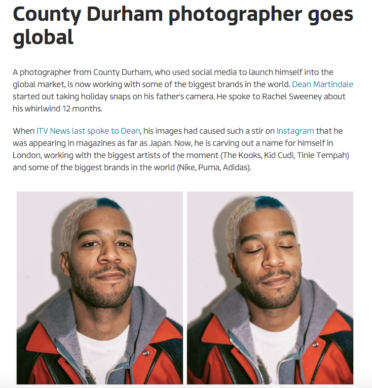 ITV NEWS -  County Durham photographer goes global