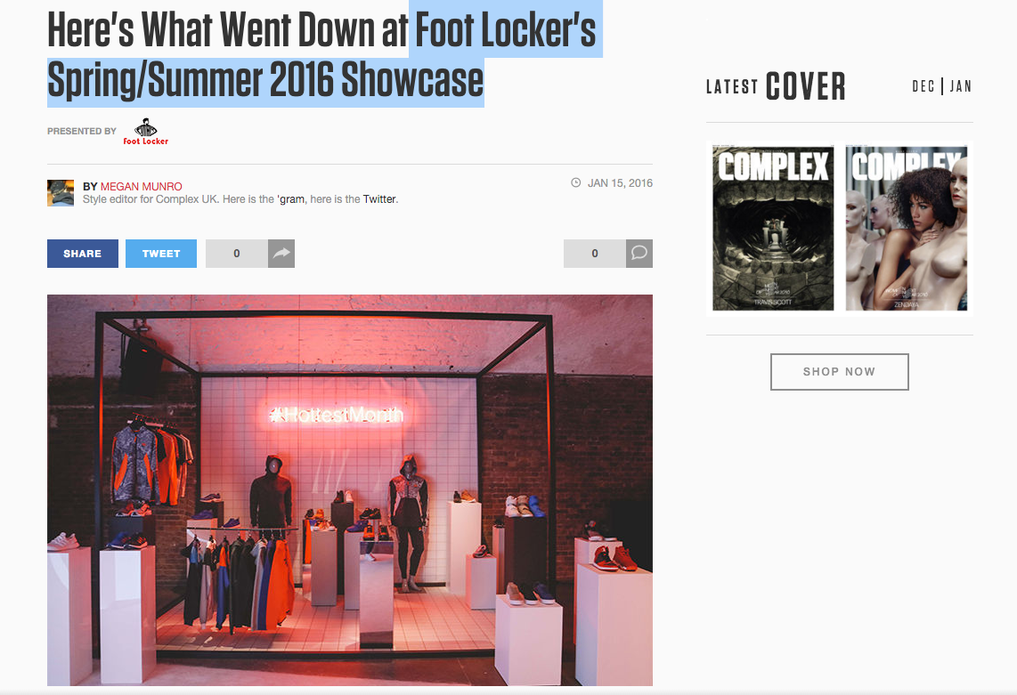 COMPLEX  -  Foot Locker's Spring/Summer 2016 Showcase