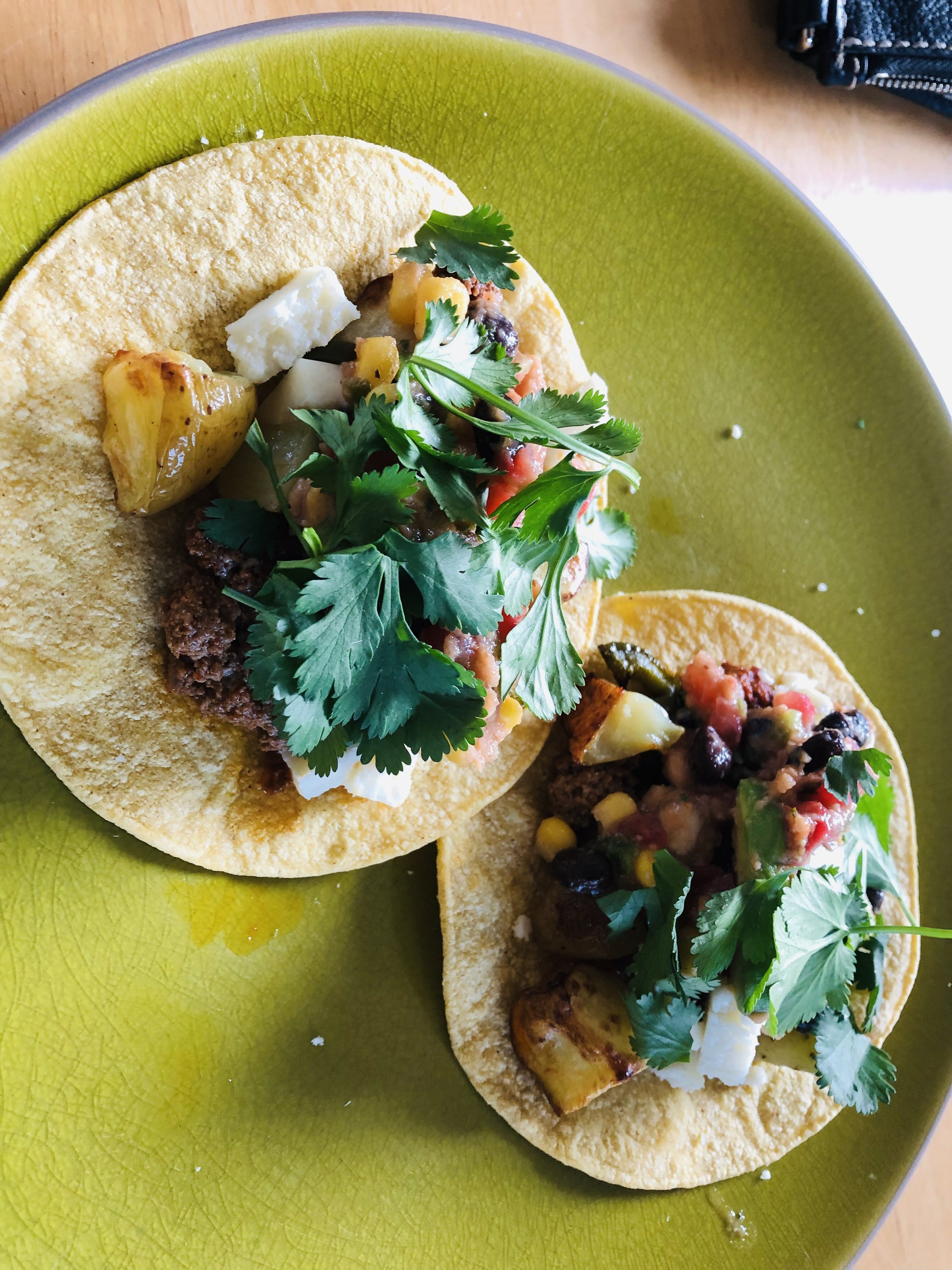 Potato chorizo tacos with cilantro. SO good!