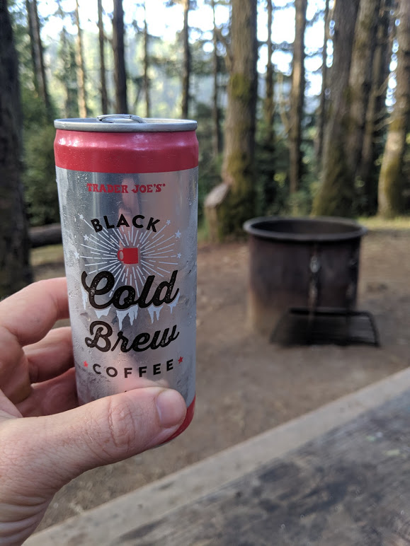Nick needs his coffee in the morning. A cold-brew in a can is easy to pack for a camping trip.