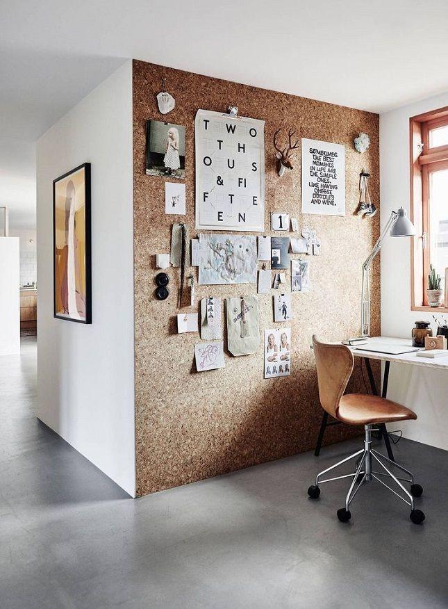 Kork er fint og naturlig i utseende, og en genial måte å henge opp inspirasjon påuten å ødelegge veggen. Bildet er tatt fra www.cameralink.se