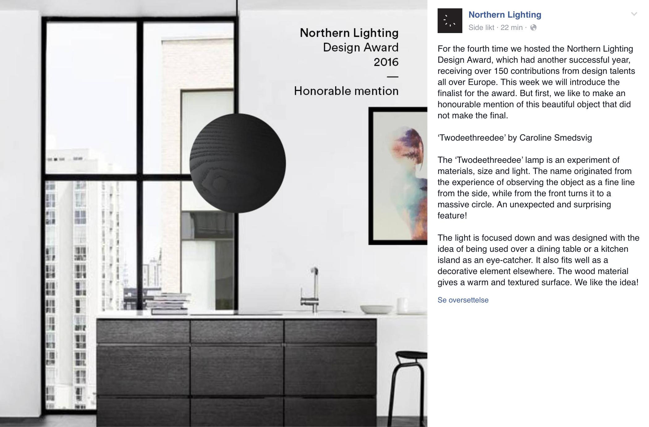 Fin omtale fra Northern Lighting på Facebook