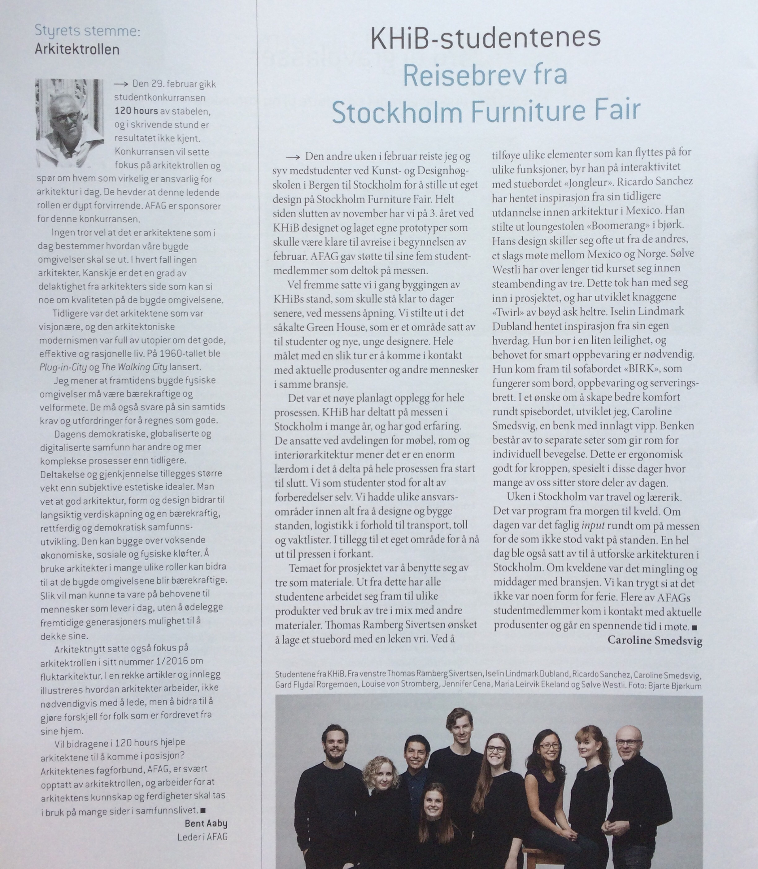 Article from Arkitektnytt, April issue