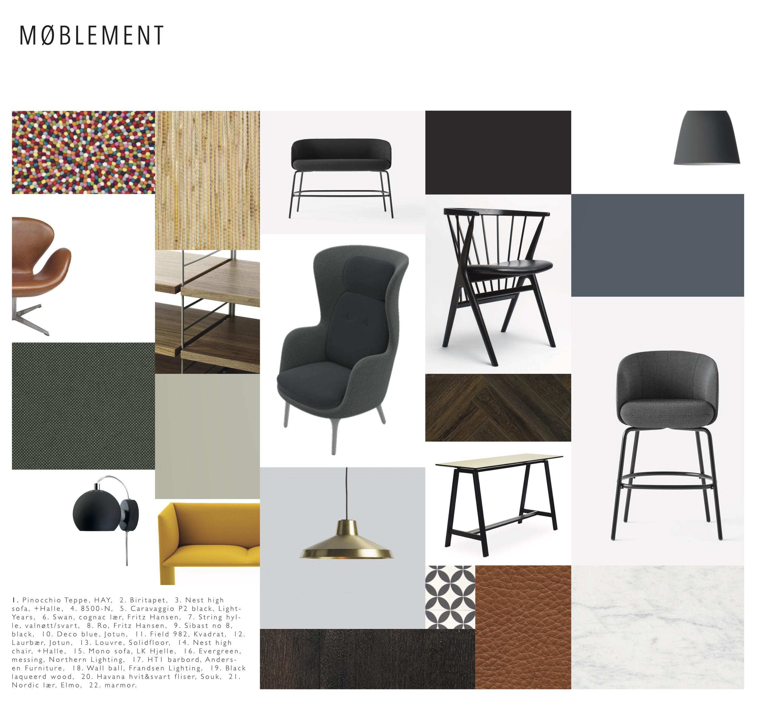 Deler av møblement, farger og materialer som er valgt til prosjektet