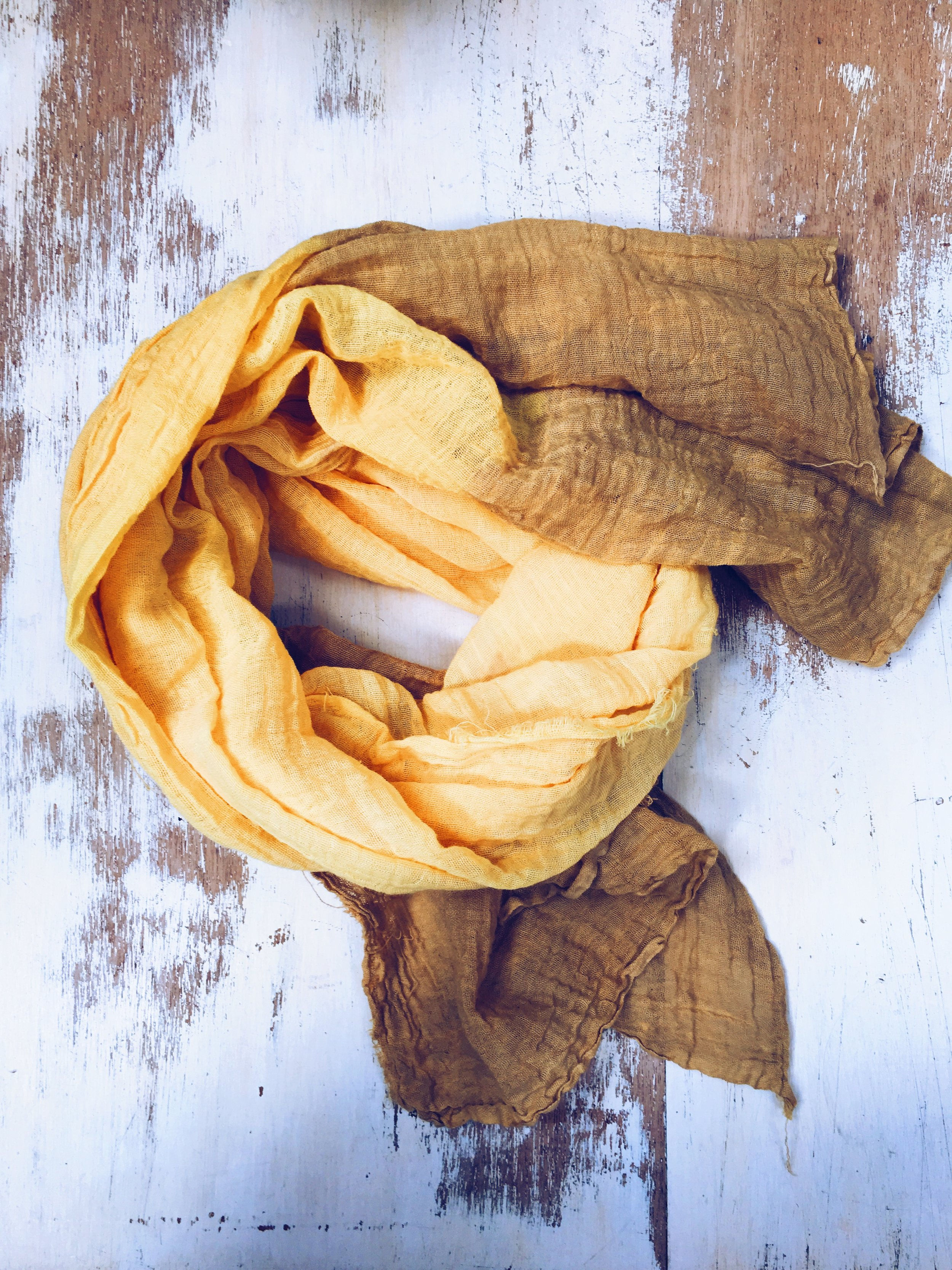 Scarf dyed using Tumeric and dipped in the iron bath, altering the colour.