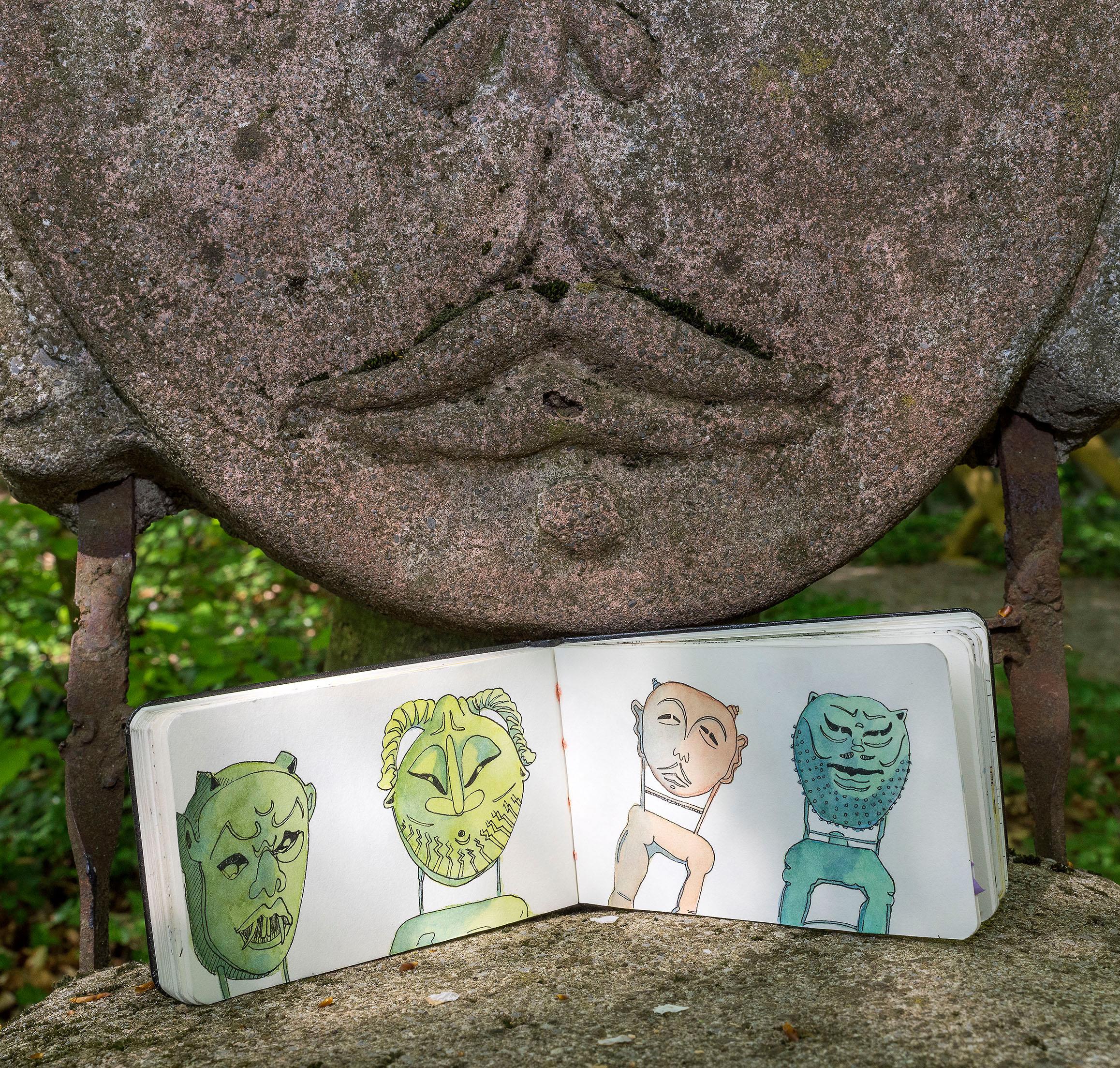 Skizzenbuch mit Skulpturenstühlen vom Sitzungszimmer im Waldgarten