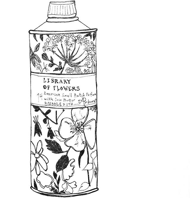 #bubblebath #packaging #libraryofflowers #smallbatch #american #perfumery #drawing #penandpaper #dailydraw #illustration #drawnbysarah