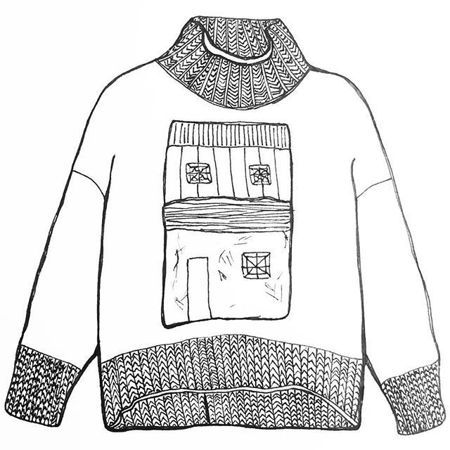 "This ""turtleneck in cashmere with needlework in front"" Marni sweater is worth looking up online - gorgeous. #hardcovet #cashmere #sweatersforever #marni #needlework  #drawing #penandpaper #dailydraw #illustration #drawnbysarah"