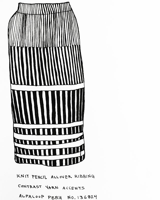 Rachel Comey Boundless Skirt. — #rachelcomey #stripes #knits #retailfashion #madeinperu #blackandwhite #drawing #dailydraw #penandpaper #illustration #drawnbysarah