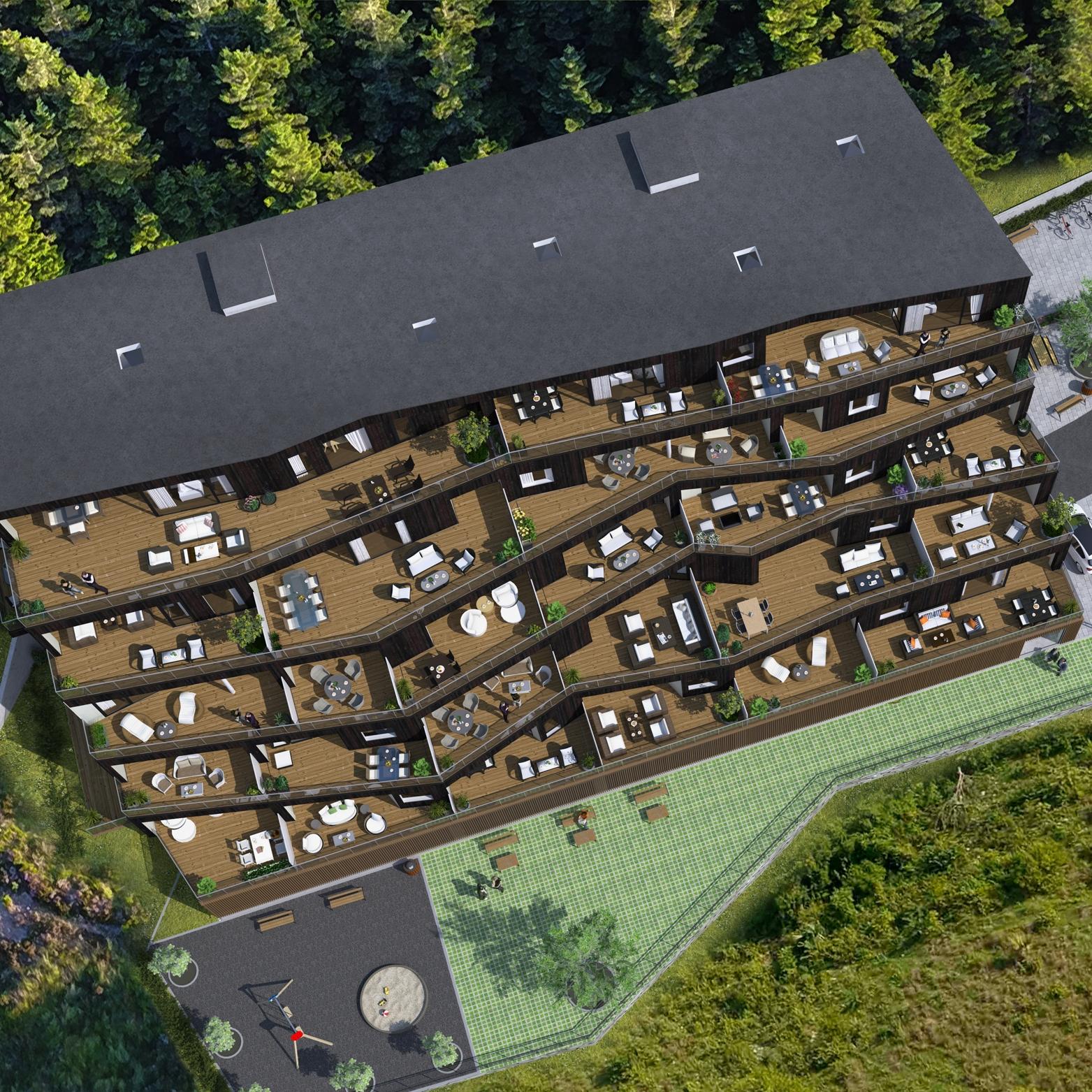 """- Terrasseblokka ZIK-ZAK blir bygd på bustadområde B10, som er det nest siste byggeområde innanfor reguleringsplanen for Falkenstein. Dette er eit godt etablert bustadområde, plassert på Førdes solside. På nokre minutt går du til matbutikk, kjøpesenter, frisør, helsetilbod, trening, Førdehuset og restaurantar i sentrum med meir. ZIK-ZAK er inspirert av buforma """"cohousing"""": Kvar bebuar har sin eigen private bustad, i tillegg til gode sosiale fellesområde. Den romslege foajeen er bygd for å vere ein uformell møteplass. Her hentar du posten, og du kan slå deg ned med ein kopp kaffi og prate med naboen. Fellesrommet kan du leige når du sjølv treng eit samlingslokale, eller når sameiget ønskjer å møtast til ulike sosial aktivitetar. Sameiget får også eit gjesterom med bad, som du kan leige når du får gjester. Leilegheitene har gode kvalitetar som vassboren varme, ekstra takhøgde på kjøkken og i stove. Dei store vindauga slepp inn mykje lys, og frå terrassen kan ein nyte den fantastiske utsikta over Førde. Måten vi bur på påverkar oss. Vi trur løysingane i ZIK-ZAK legg grunnlaget for eit godt bumiljø og eit sosialt naboskap."""