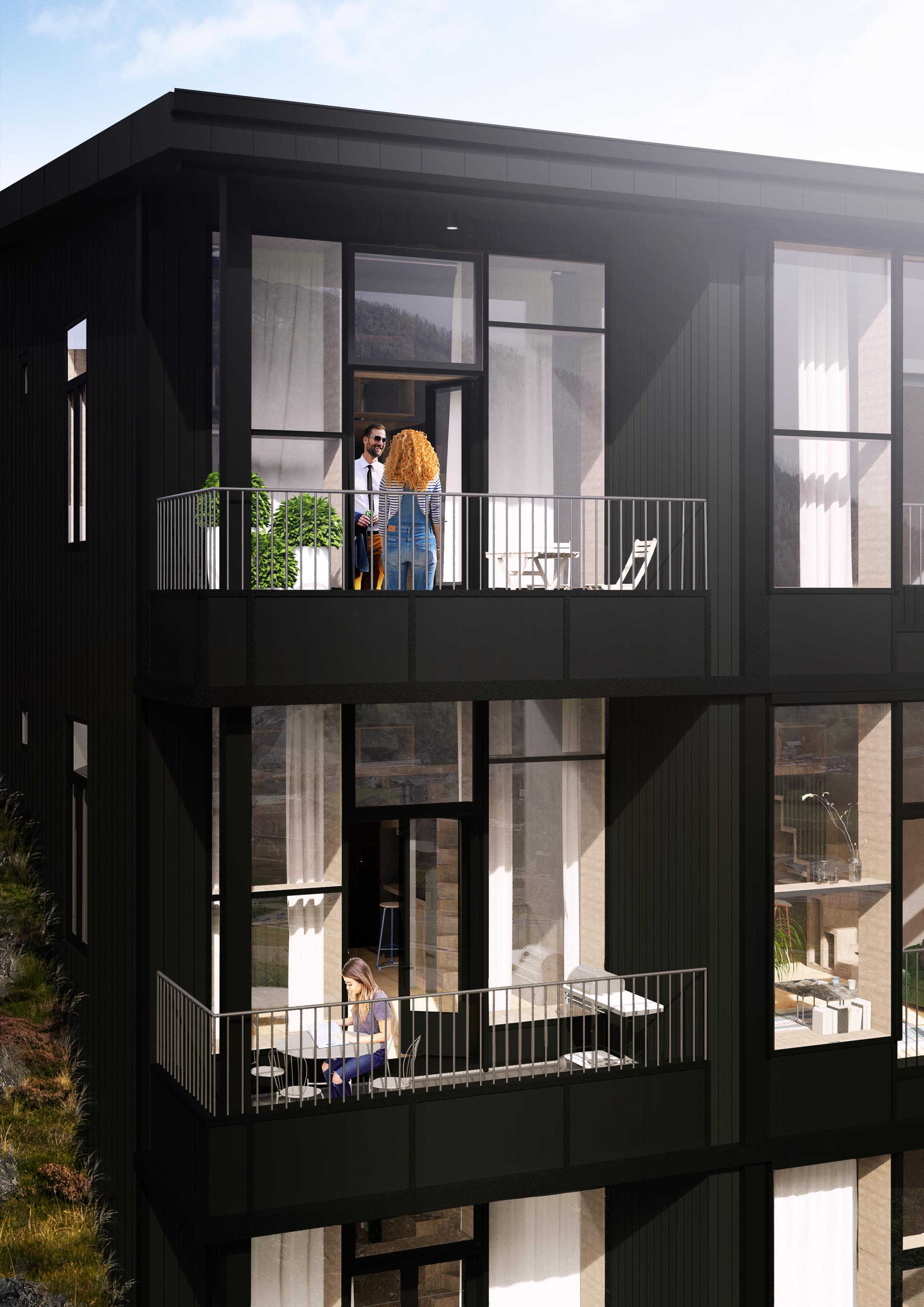 Uteliv - Dei seks endeleilegheitene har, gode, solrike balkongar. Midtleilegheitene har fransk balkong med doble dører slik at ein også der kan nyte sola, utsikta og elva som renn forbi.
