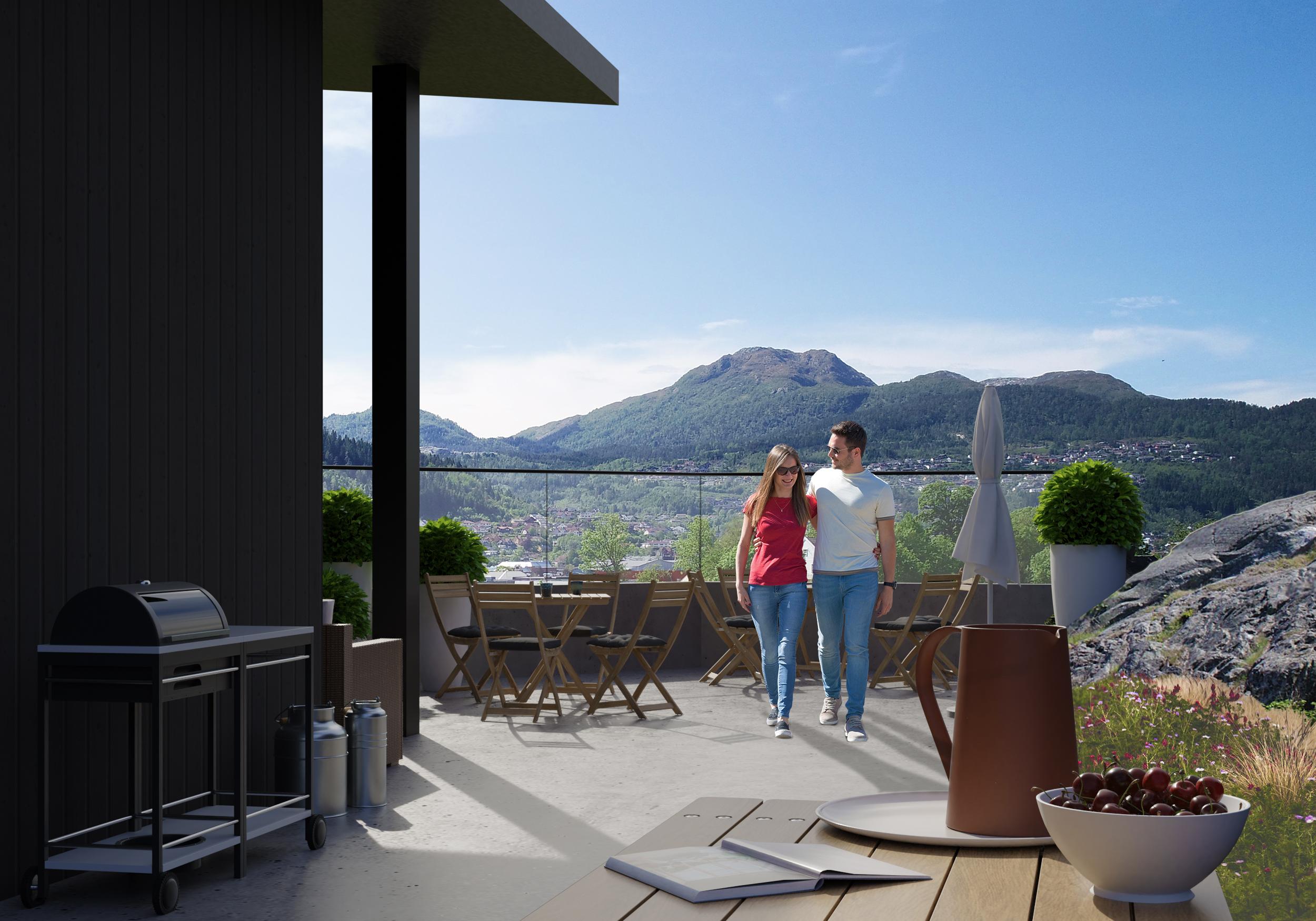 Panorama - Frå 4.etasje er det utgang til stor felles terrasse, solrikt og med panoramautsikt over sentrum. Her kan ein grille eller samlast i andre sosiale lag.