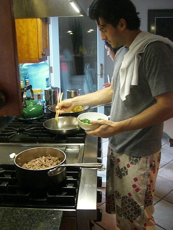 Love Life and Lollipops- Justin at Work Making His Vegan Brown Rice Bowl