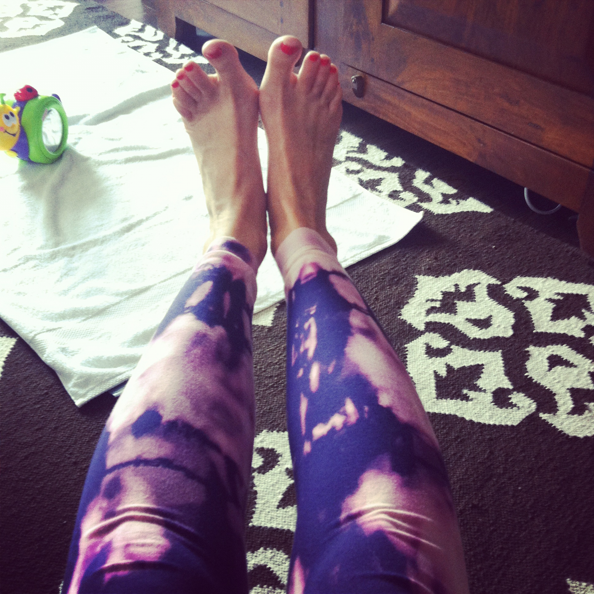 Love Life and Lollipops- Bleach Dyed Yoga Pants