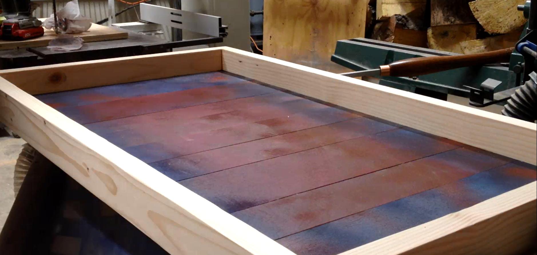 Backer board glued in place