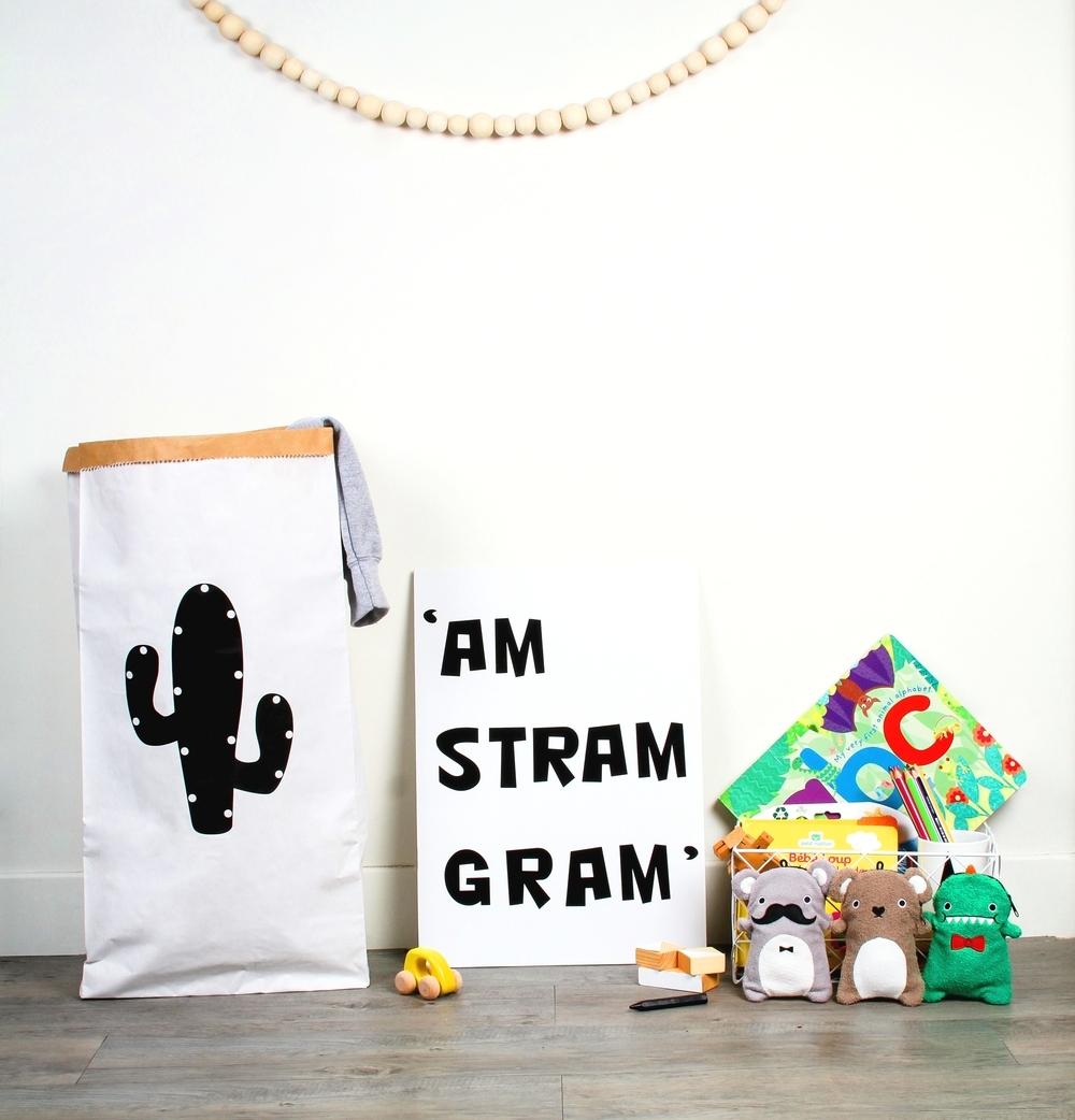 The funky cactus design of the Mon Petit Zoréol paper bags...