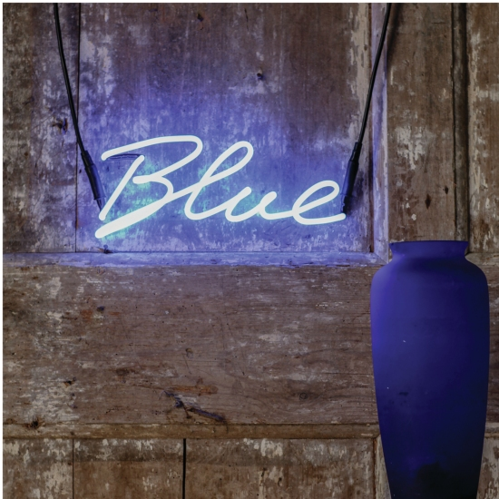 'Blue' neon sign from The Letter Room.