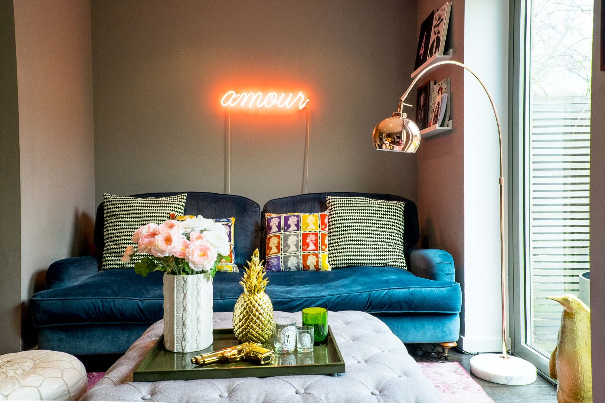 Stella + the Stars' own living room embraces the copper trend with a floor lamp from M&S home