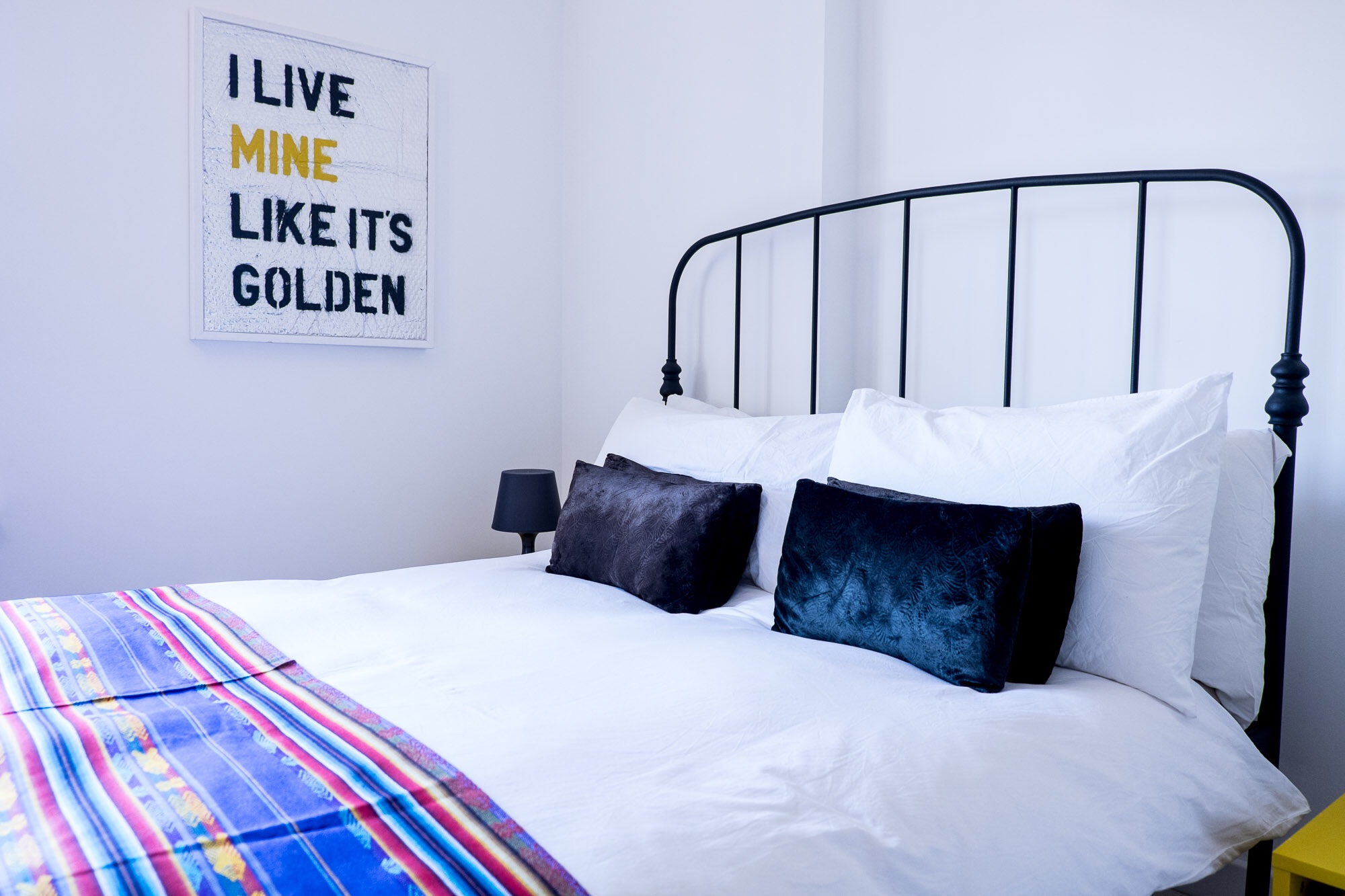Crisp white bed linen in Stella + the Stars' guest room is always a treat for guests....