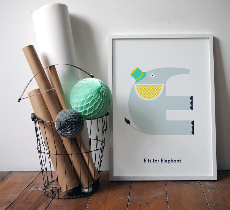 E is for Elephant - one of the lovely designs by artist Emily Forgot and available from Nursery Names.